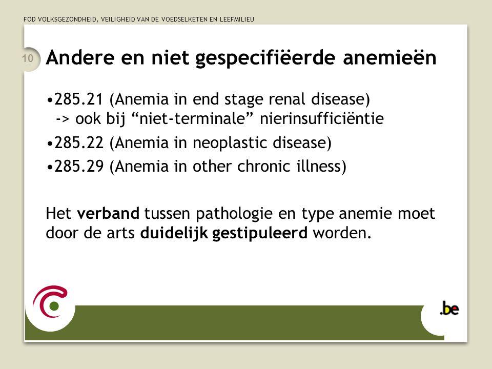 Andere en niet gespecifiëerde anemieën