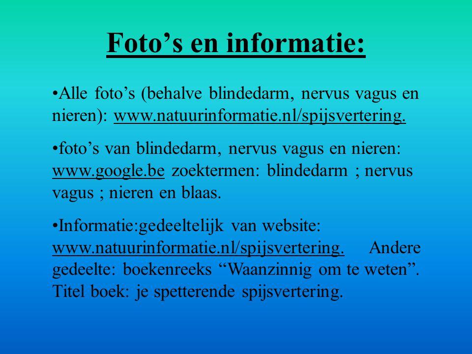 Foto's en informatie: Alle foto's (behalve blindedarm, nervus vagus en nieren): www.natuurinformatie.nl/spijsvertering.