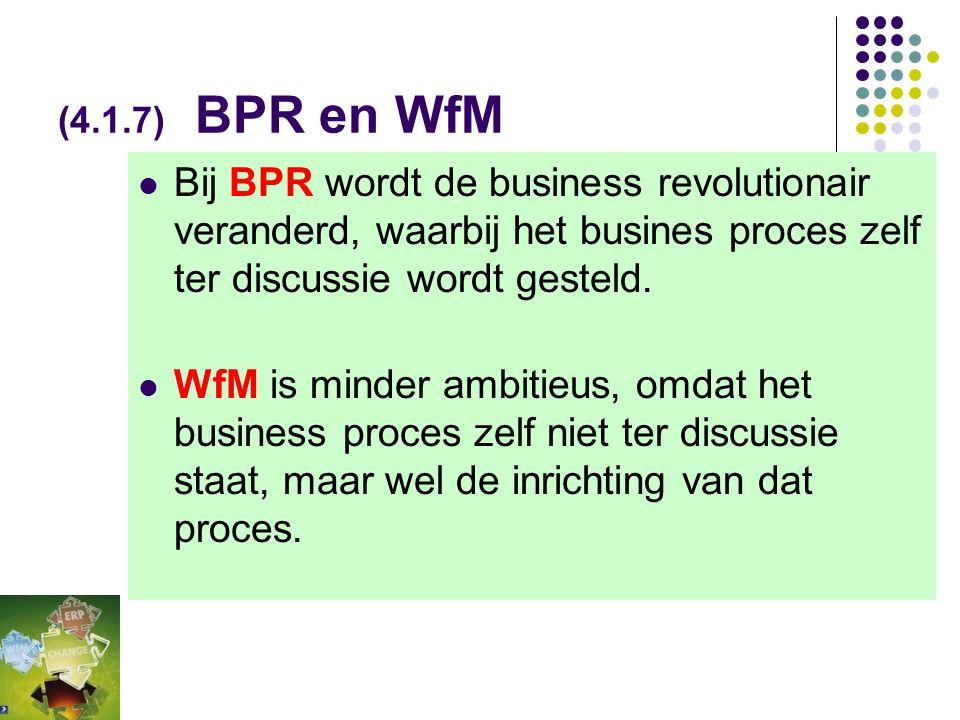 (4.1.7) BPR en WfM Bij BPR wordt de business revolutionair veranderd, waarbij het busines proces zelf ter discussie wordt gesteld.