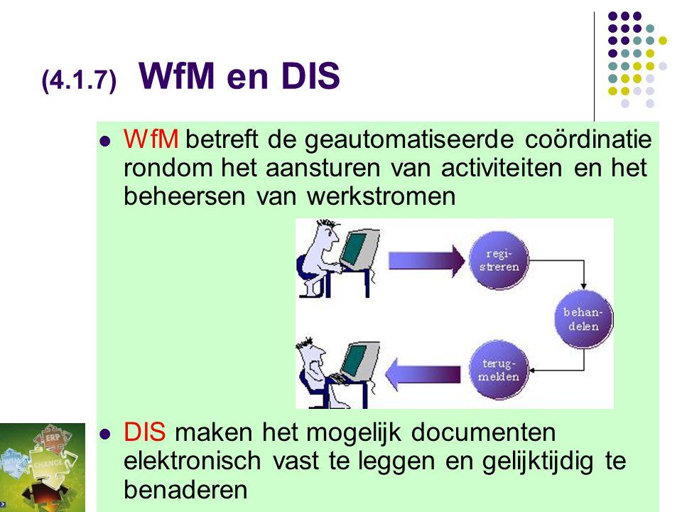 (4.1.7) WfM en DIS WfM betreft de geautomatiseerde coördinatie rondom het aansturen van activiteiten en het beheersen van werkstromen.