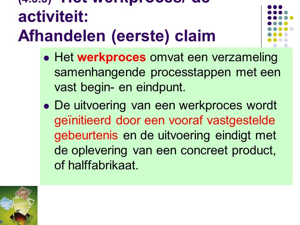 (4.3.3) Het werkproces/ de activiteit: Afhandelen (eerste) claim