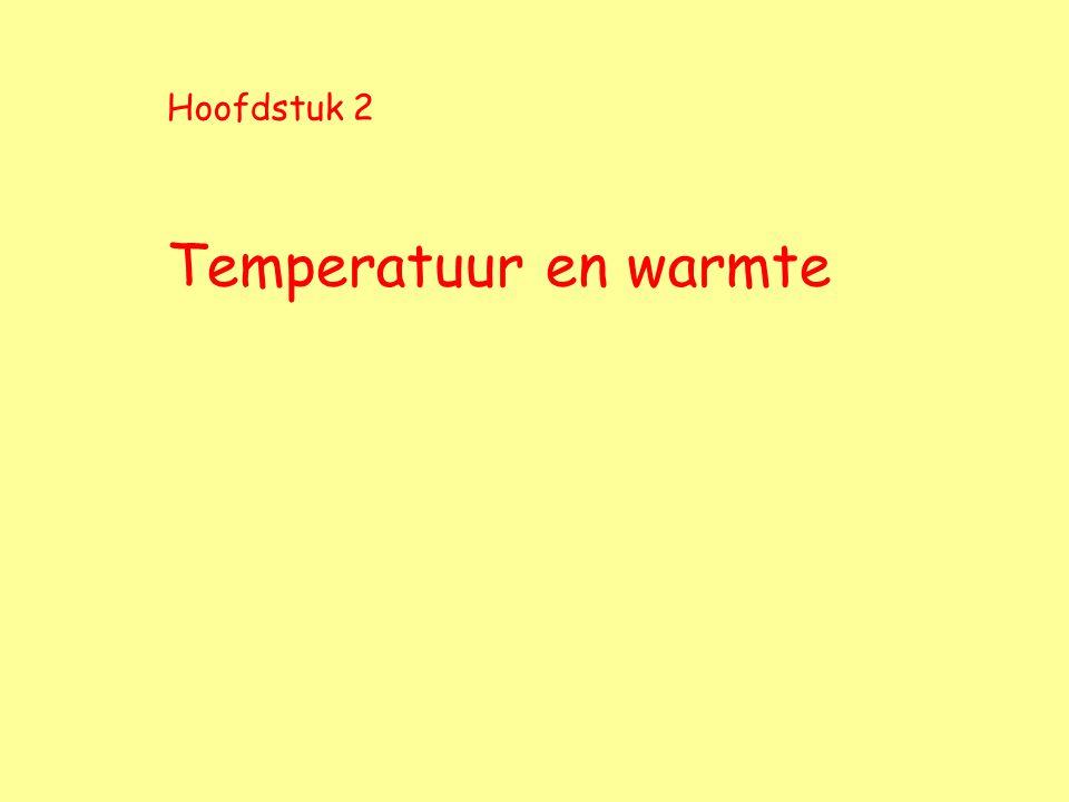 Hoofdstuk 2 Temperatuur en warmte
