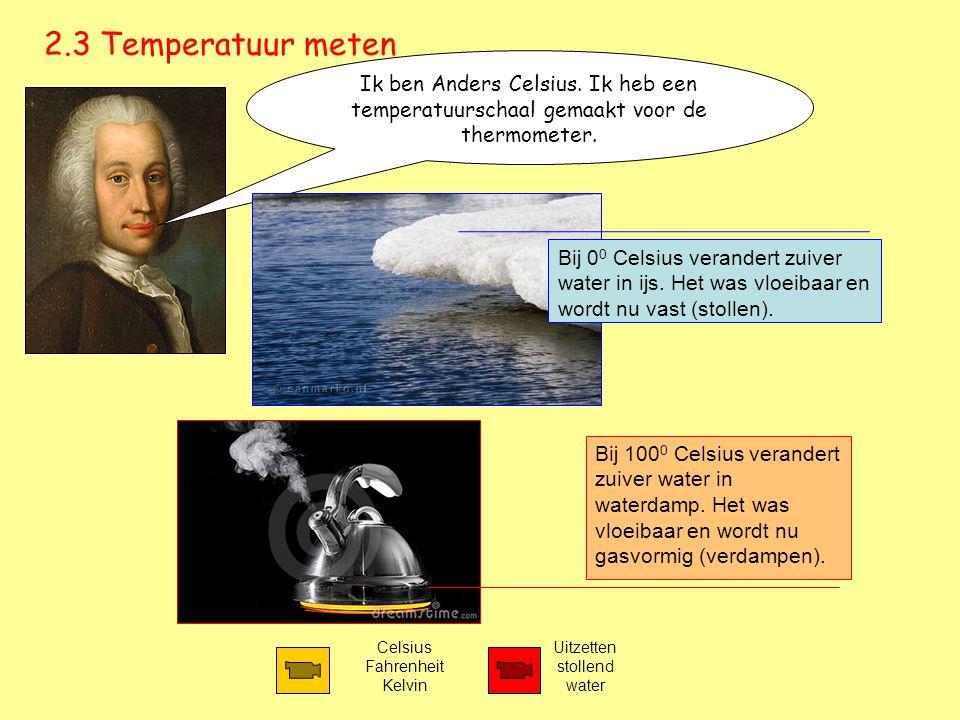 2.3 Temperatuur meten Ik ben Anders Celsius. Ik heb een temperatuurschaal gemaakt voor de thermometer.