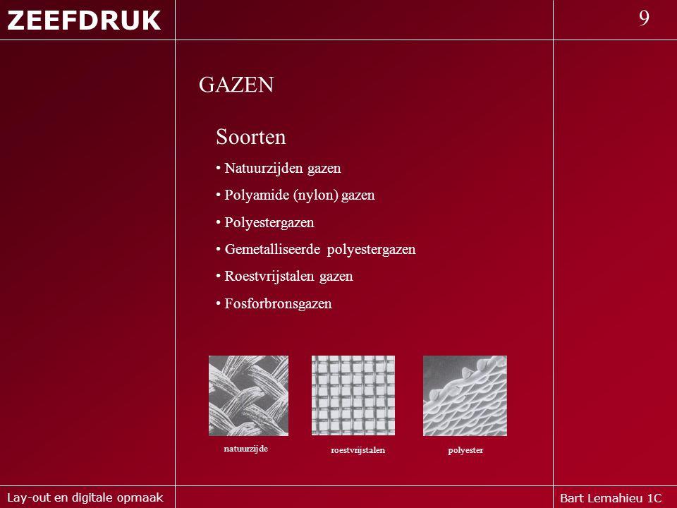 ZEEFDRUK 9 GAZEN Soorten Natuurzijden gazen Polyamide (nylon) gazen