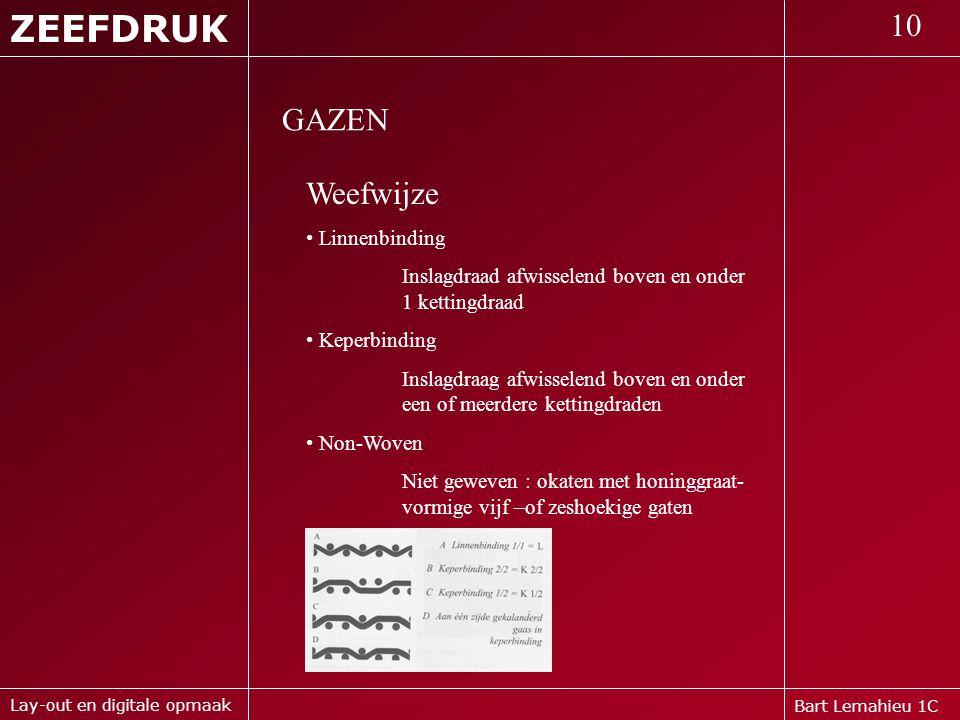 ZEEFDRUK 10 GAZEN Weefwijze Linnenbinding