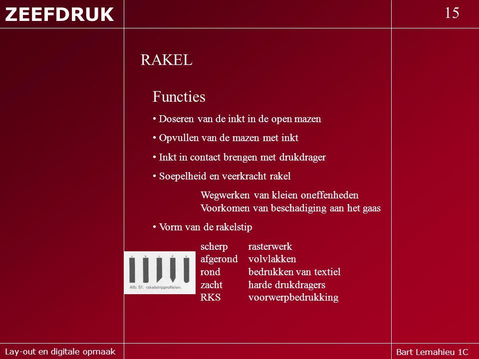 ZEEFDRUK 15 RAKEL Functies Doseren van de inkt in de open mazen