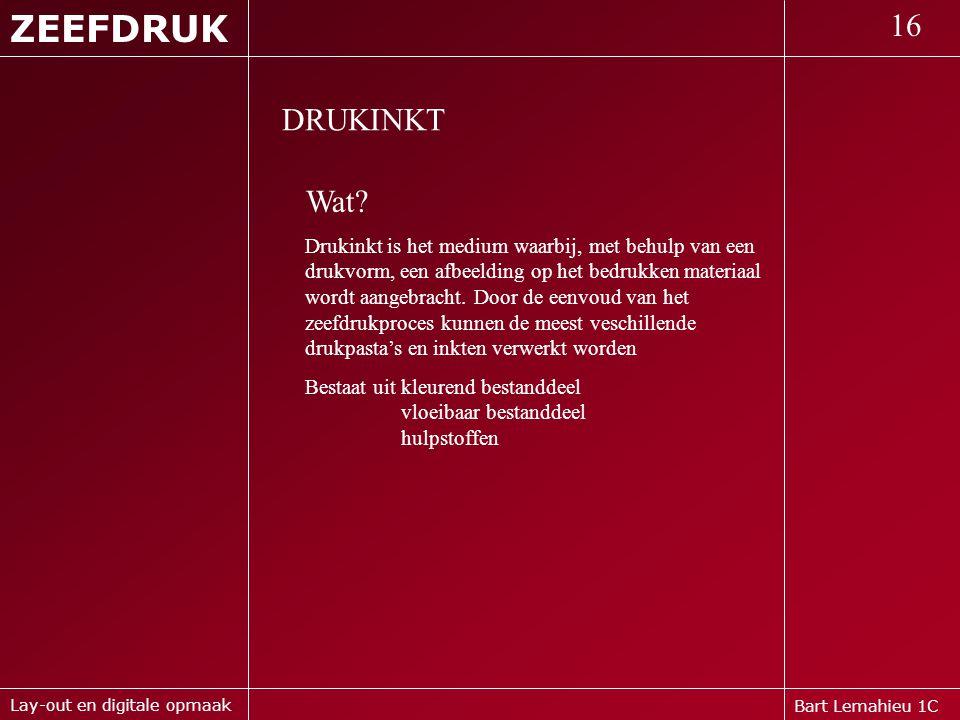 ZEEFDRUK 16. DRUKINKT. Wat