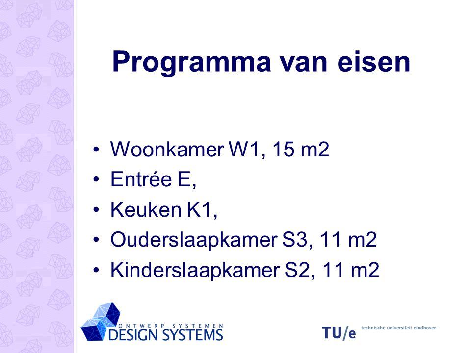 Programma van eisen Woonkamer W1, 15 m2 Entrée E, Keuken K1,