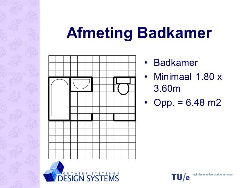 Afmeting Badkamer Badkamer Minimaal 1.80 x 3.60m Opp. = 6.48 m2