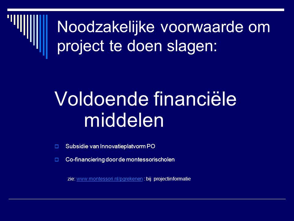 Noodzakelijke voorwaarde om project te doen slagen:
