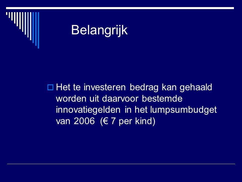 Belangrijk Het te investeren bedrag kan gehaald worden uit daarvoor bestemde innovatiegelden in het lumpsumbudget van 2006 (€ 7 per kind)