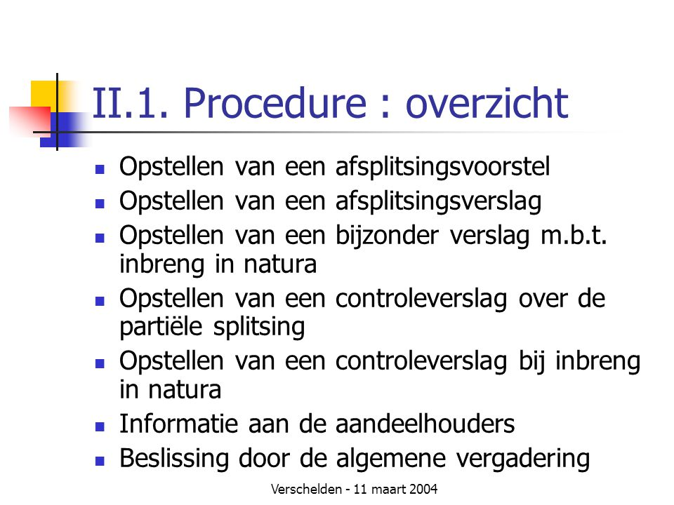 II.1. Procedure : overzicht