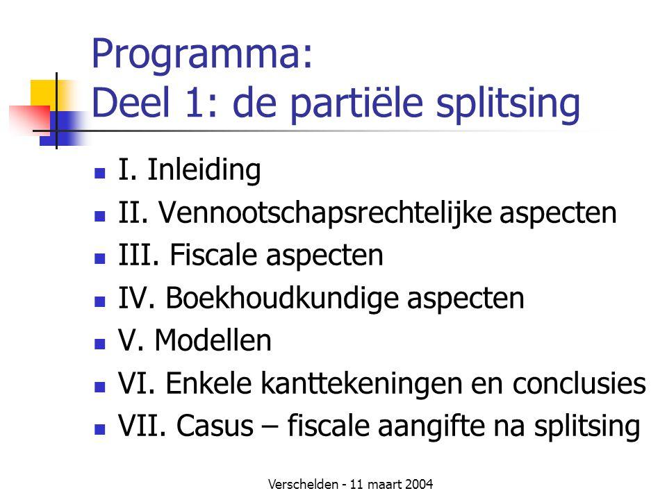 Programma: Deel 1: de partiële splitsing