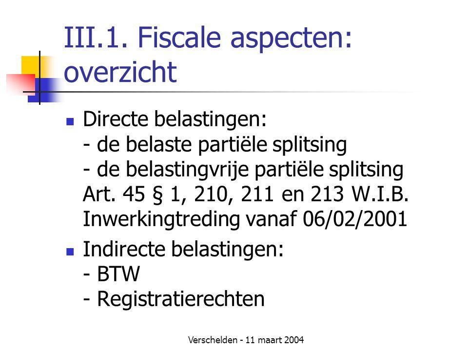 III.1. Fiscale aspecten: overzicht