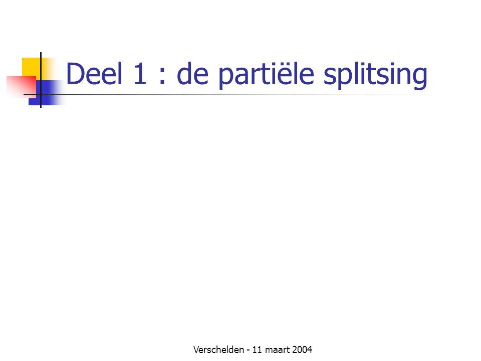 Deel 1 : de partiële splitsing