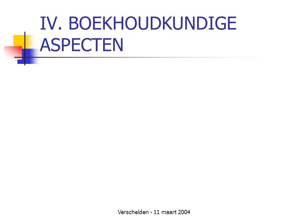 IV. BOEKHOUDKUNDIGE ASPECTEN