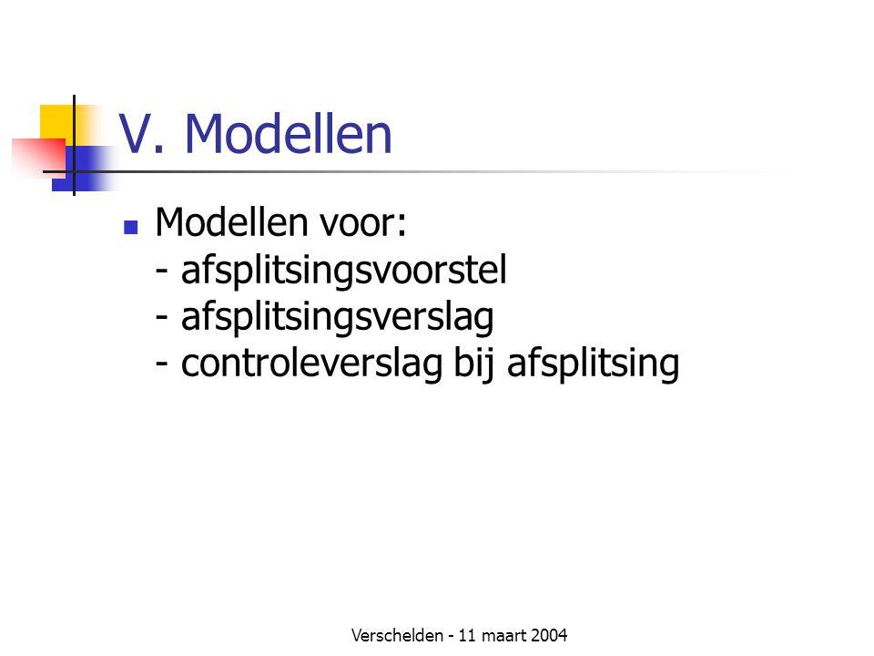 V. Modellen Modellen voor: - afsplitsingsvoorstel - afsplitsingsverslag - controleverslag bij afsplitsing.