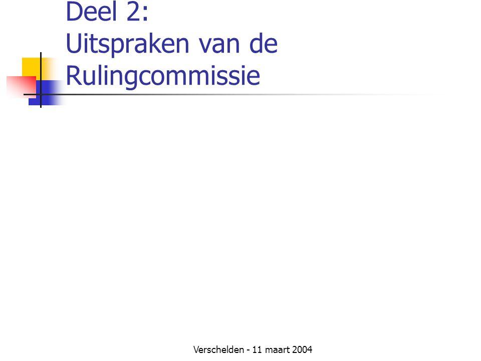 Deel 2: Uitspraken van de Rulingcommissie