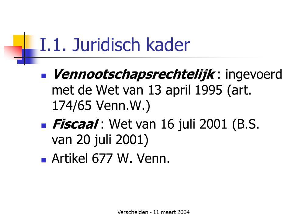 I.1. Juridisch kader Vennootschapsrechtelijk : ingevoerd met de Wet van 13 april 1995 (art. 174/65 Venn.W.)