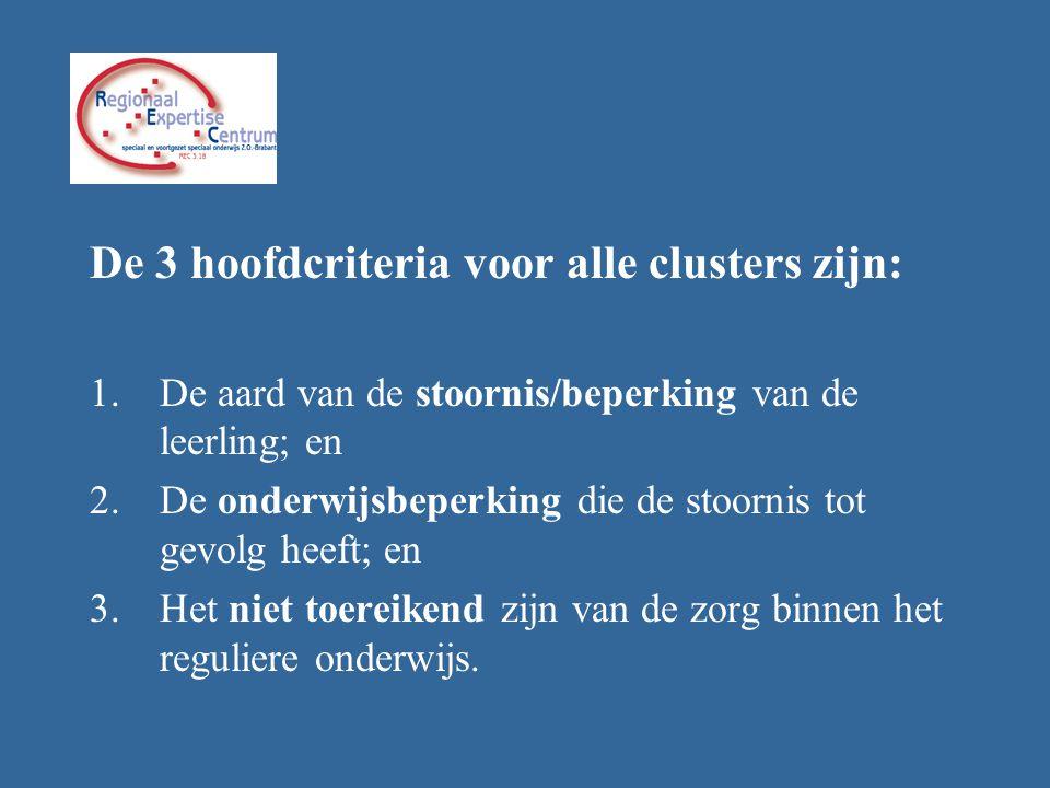 De 3 hoofdcriteria voor alle clusters zijn: