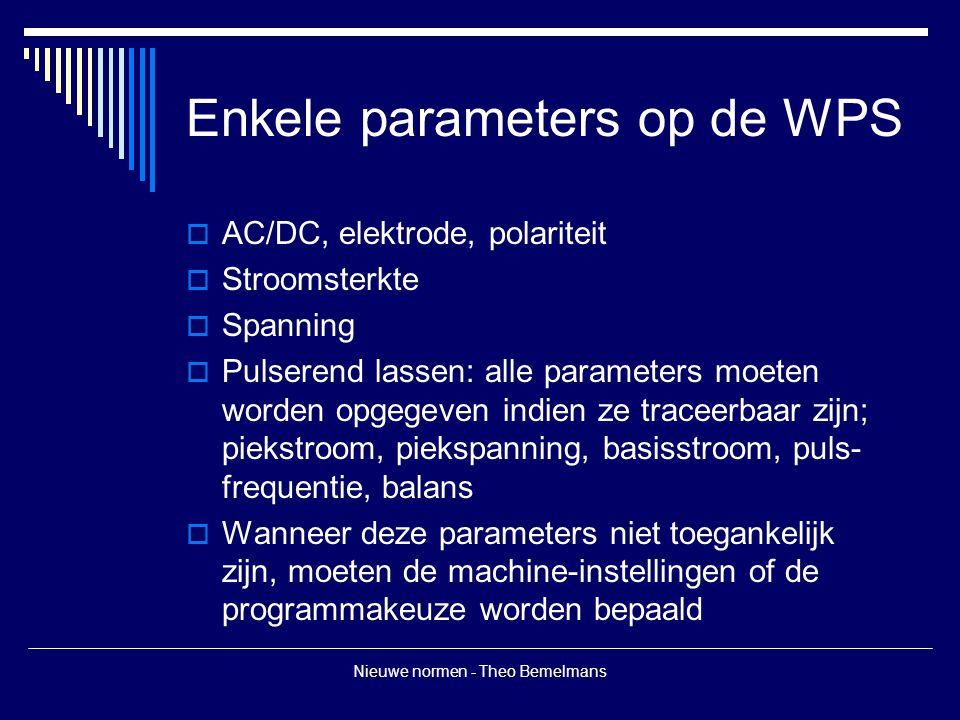 Enkele parameters op de WPS