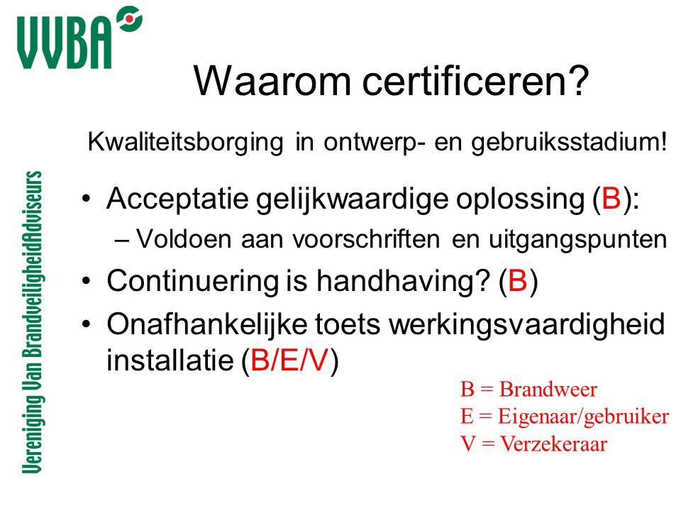 Waarom certificeren Acceptatie gelijkwaardige oplossing (B):