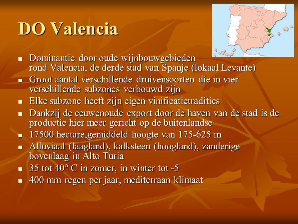 DO Valencia Dominantie door oude wijnbouwgebieden rond Valencia, de derde stad van Spanje (lokaal Levante)