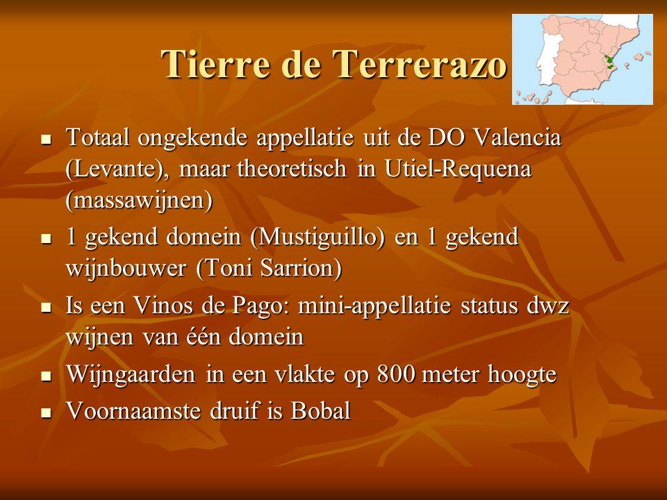 Tierre de Terrerazo Totaal ongekende appellatie uit de DO Valencia (Levante), maar theoretisch in Utiel-Requena (massawijnen)