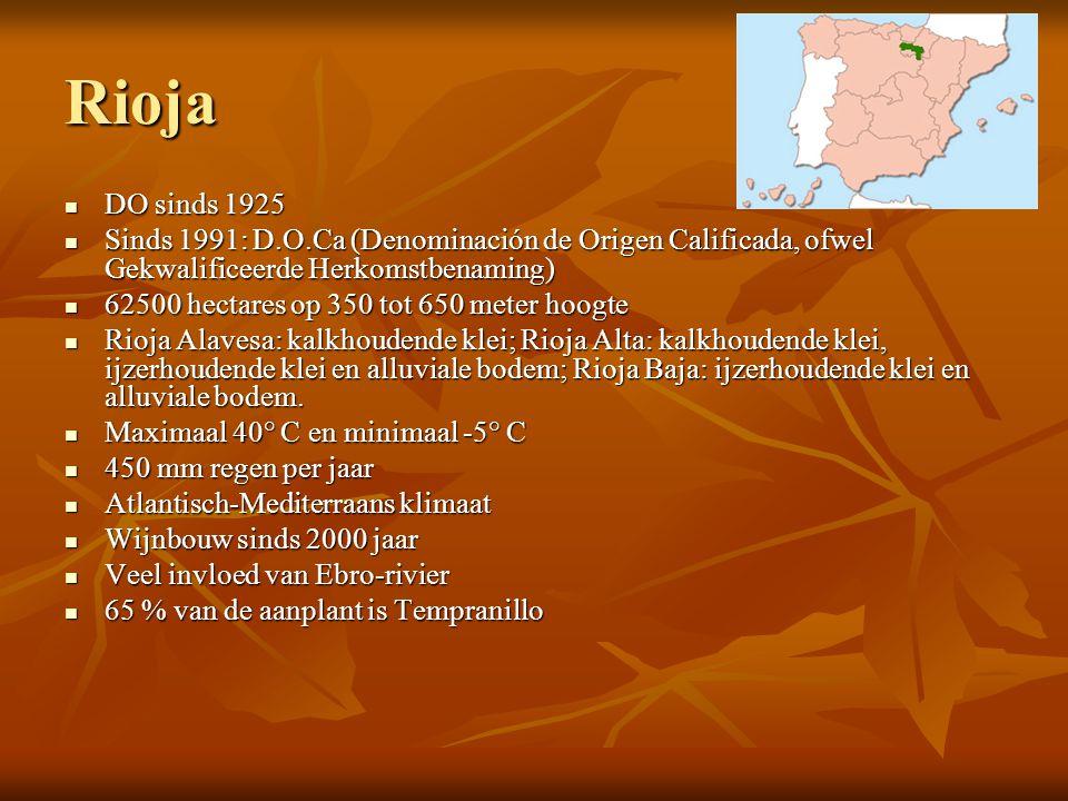 Rioja DO sinds 1925. Sinds 1991: D.O.Ca (Denominación de Origen Calificada, ofwel Gekwalificeerde Herkomstbenaming)