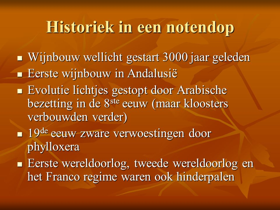 Historiek in een notendop