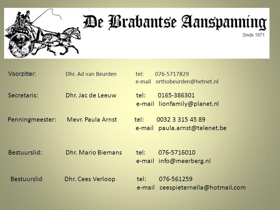 Secretaris : Dhr. Jac de Leeuw tel: 0165-386301