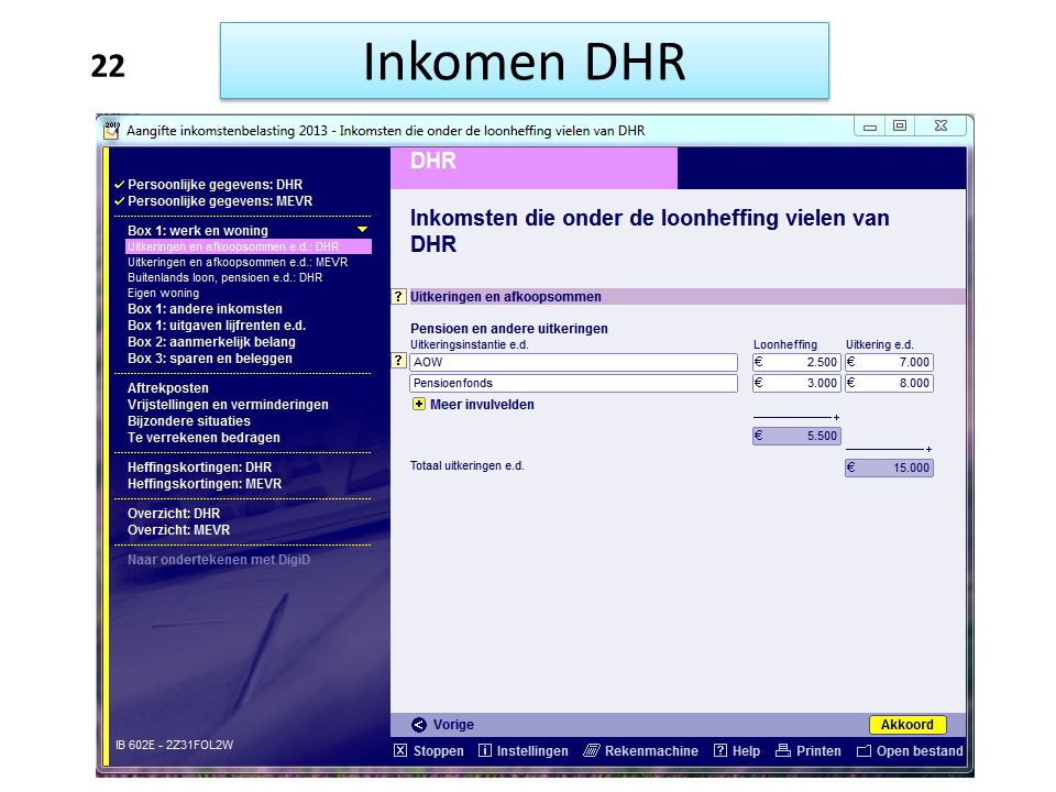 Inkomen DHR 22