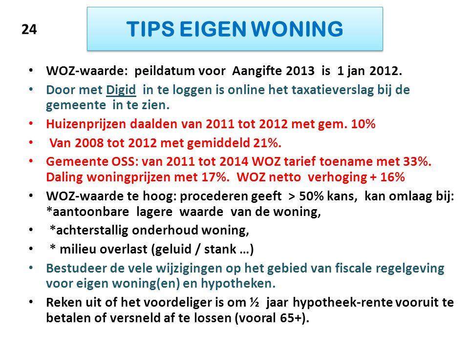 TIPS EIGEN WONING 24. WOZ-waarde: peildatum voor Aangifte 2013 is 1 jan 2012.