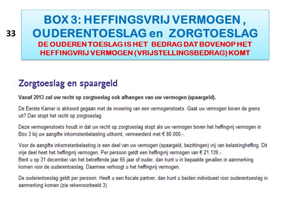 BOX 3: HEFFINGSVRIJ VERMOGEN , OUDERENTOESLAG en ZORGTOESLAG DE OUDEREN TOESLAG IS HET BEDRAG DAT BOVENOP HET HEFFINGVRIJ VERMOGEN (VRIJSTELLINGSBEDRAG) KOMT