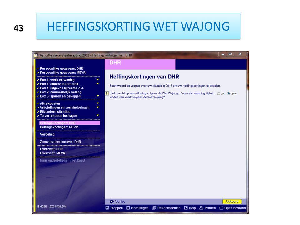 HEFFINGSKORTING WET WAJONG
