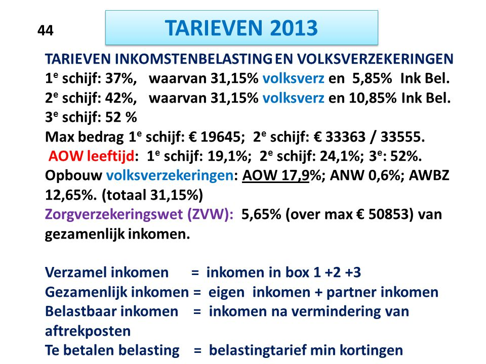 TARIEVEN 2013 44 TARIEVEN INKOMSTENBELASTING EN VOLKSVERZEKERINGEN