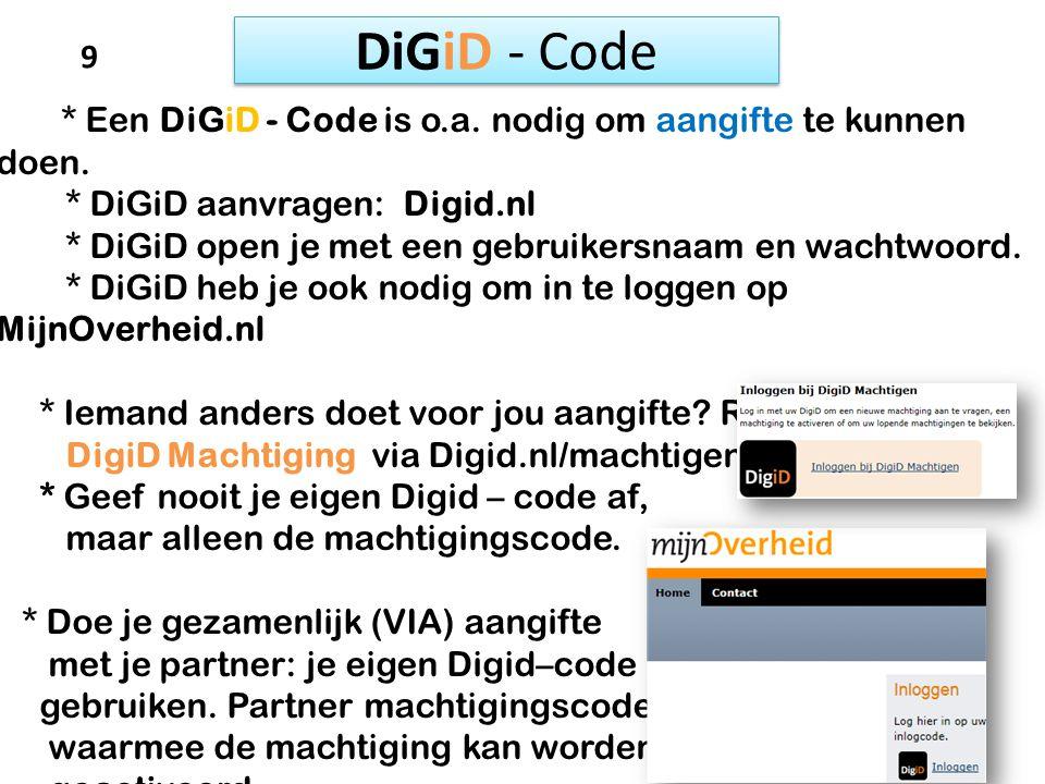 DiGiD - Code 9 * DiGiD aanvragen: Digid.nl