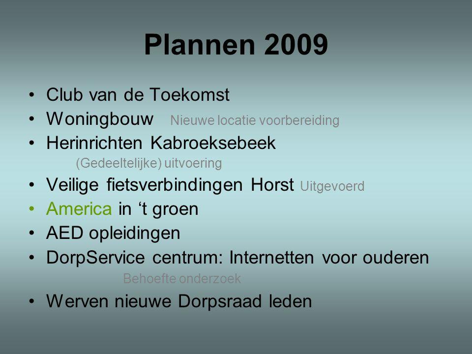 Plannen 2009 Club van de Toekomst