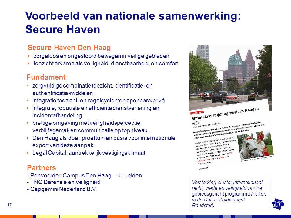 Voorbeeld van nationale samenwerking: Secure Haven
