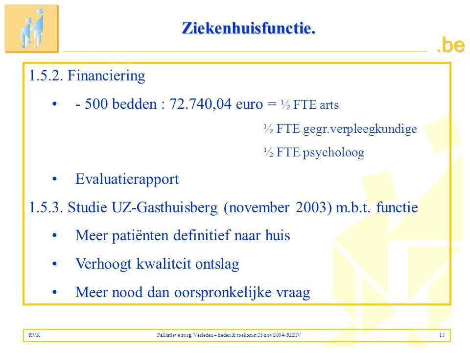 Ziekenhuisfunctie. 1.5.2. Financiering