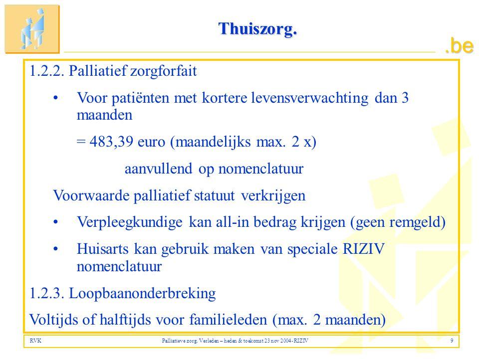 RVK Palliatieve zorg. Verleden – heden & toekomst 23 nov 2004- RIZIV 9