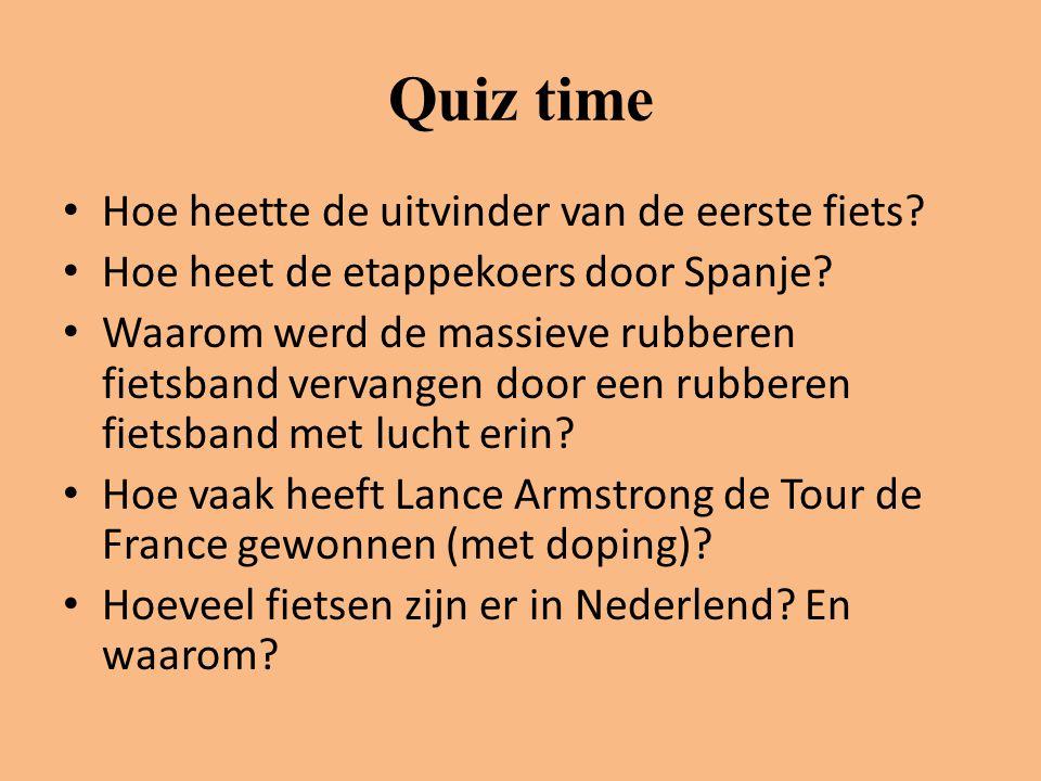 Quiz time Hoe heette de uitvinder van de eerste fiets