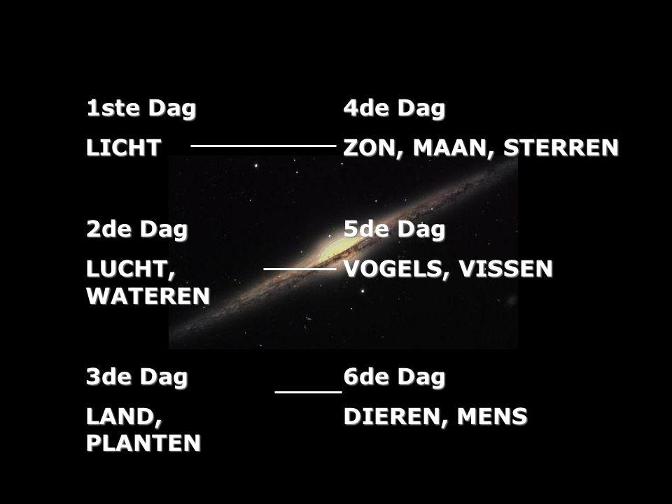 1ste Dag LICHT. 2de Dag. LUCHT, WATEREN. 3de Dag. LAND, PLANTEN. 4de Dag. ZON, MAAN, STERREN.