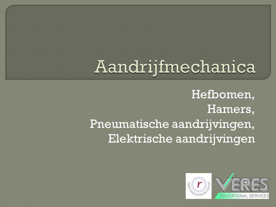Aandrijfmechanica Hefbomen, Hamers, Pneumatische aandrijvingen, Elektrische aandrijvingen