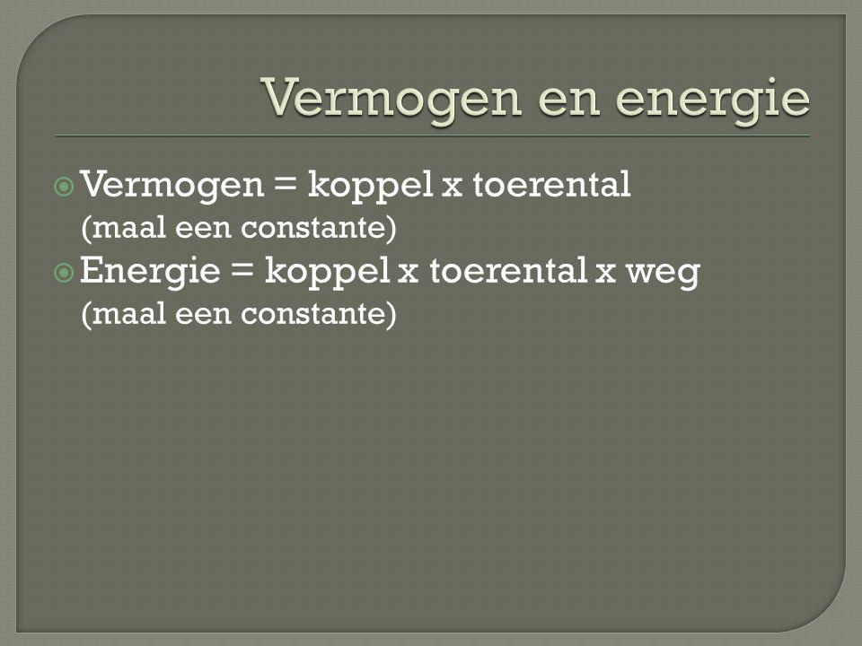 Vermogen en energie Vermogen = koppel x toerental (maal een constante)