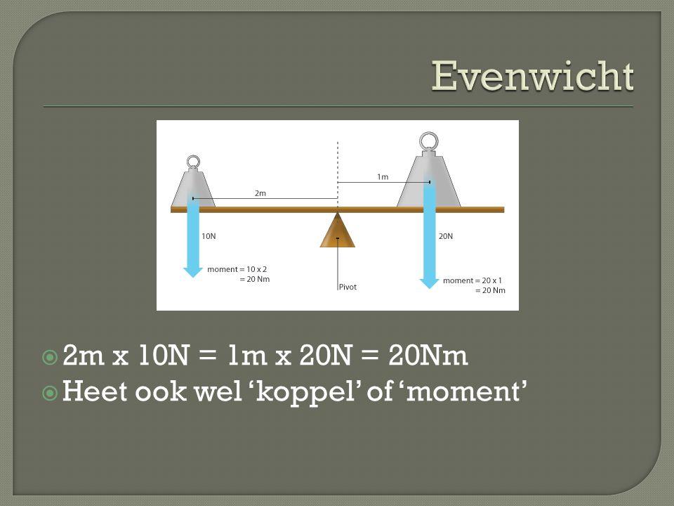 Evenwicht 2m x 10N = 1m x 20N = 20Nm Heet ook wel 'koppel' of 'moment'
