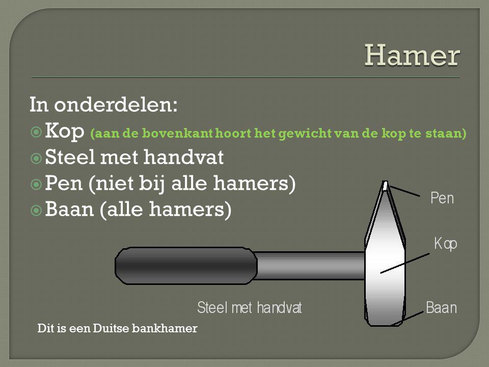 Hamer In onderdelen: Kop (aan de bovenkant hoort het gewicht van de kop te staan) Steel met handvat.