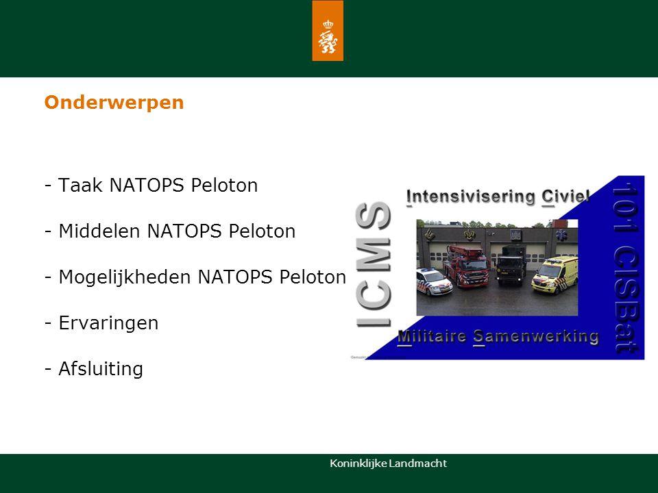 Onderwerpen - Taak NATOPS Peloton. - Middelen NATOPS Peloton. - Mogelijkheden NATOPS Peloton. - Ervaringen.