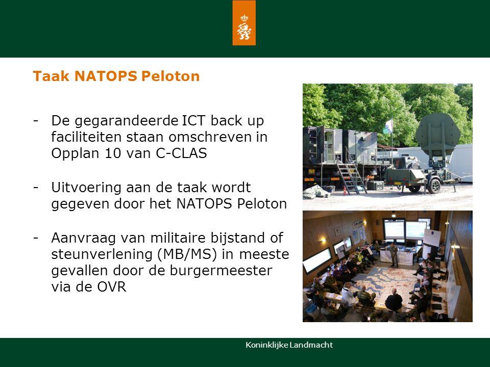 Taak NATOPS Peloton De gegarandeerde ICT back up faciliteiten staan omschreven in Opplan 10 van C-CLAS.