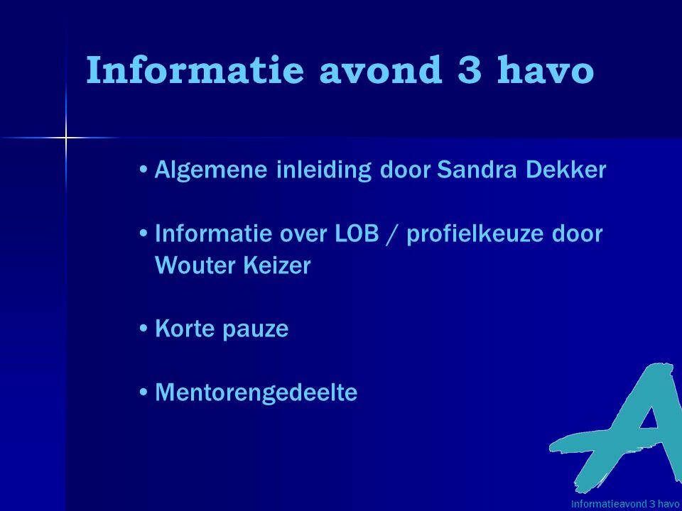 Informatie avond 3 havo Algemene inleiding door Sandra Dekker